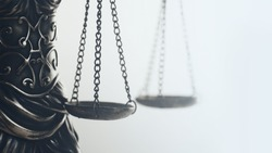 Legal law concept image, extreme close up of scales symbol of Justice.