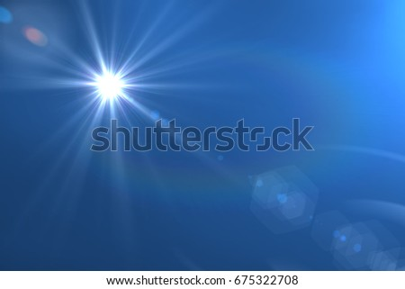Lens flare light over black background. Easy to add overlay or screen filter over photo .     Sunshine and light beam or sun rays.  skin to protect concept. natural background    #675322708