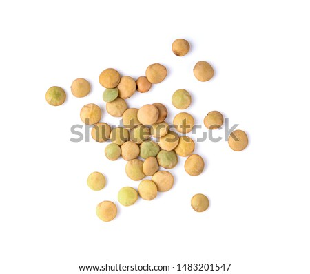 lentils on isolated white background. top view #1483201547