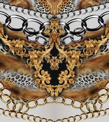 leopard skin and golden chain golden baroque