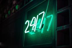 247 letter neon sign on São Paulo, Brazil