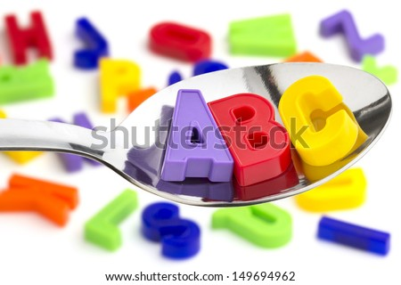letters A, B, C, in a tablespoon