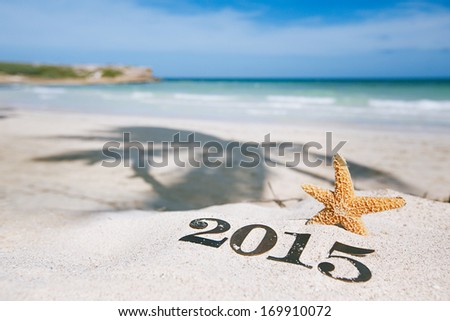 2015 letters with starfish ocean beach and seascape shallow dof