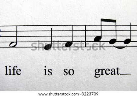 ...life is so great... sheet music with lyrics - stock photo
