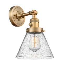 1 Light Dimmable Armed Wall Sconce Isolated. Chandelier Lighting. Electric Light Fixture with Glass Cone Shade 60 Watt Vintage Incandescent E26 Bulb Brushed Brass. Interior Electrical Decoration Light
