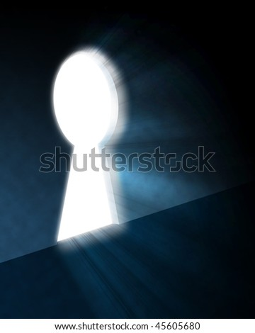light from the keyhole on a black background