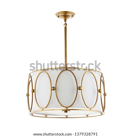 3 Light LED Drum Chandelier Isolated on White Background. Mid-Century Modern Ceiling Light Round Pendant Light Fixture. Bronze and Brass Metal Hanging Lights. Pendant Sconce Lighting Lamp