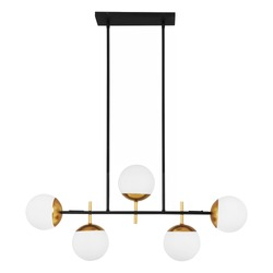 5-Light Linear Chandelier Isolated on White Background. Pendant Ceiling Light in Black Finish with Gold Accents & Little Globes. Antique Hanging Lights. Retro Vintage. Classic Pendant Sconce Lighting