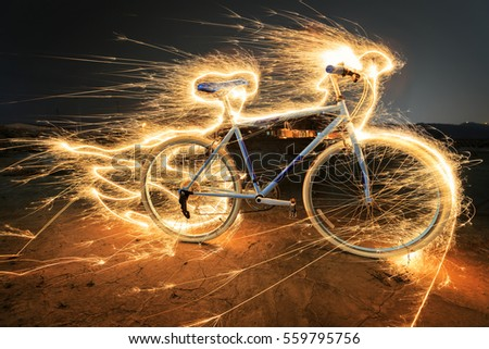 Stock Photo  light painting bike