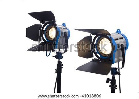 Lighting Equipment Two Lamps Lit, Isolated On White. Stock Photo