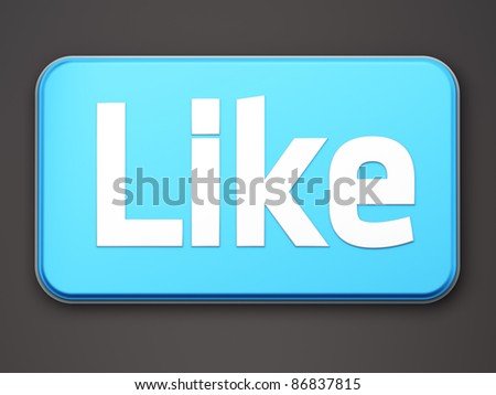 """Like"" button 3d  render on dark background"