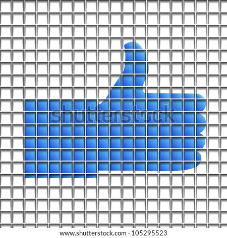 """Like"" symbol  on blocks structure background.  Raster version"