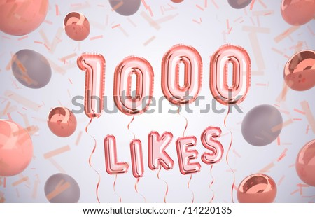 1000 likes, 1000 followers thank you with gold balloons and colorful confetti. Illustration 3d render for social network friends, followers, web user Thank you celebrate of subscriber,followers, likes