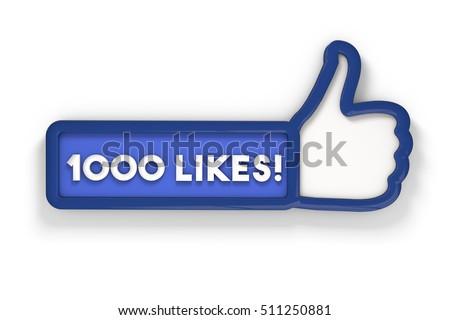 1000 likes thumbs up social media banner. 3D rendering