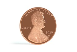 Lincoln Penny Copper Coin 2020 S Straight view on White Background Currency