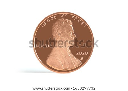 Lincoln Penny Copper Coin 2020 S Straight view on White Background Currency Сток-фото ©
