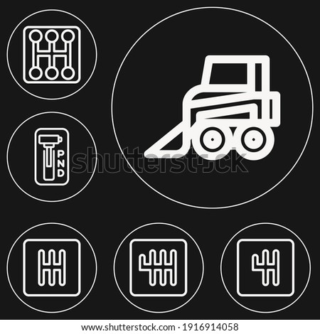6 lineal editable icons set for charleston of backhoe, gearstick Stock photo ©