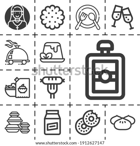 13 lineal side dish icons set related to meal, champagne, sausage, mayonnaise, bagel, cookie, dish, dumpling, macaron pixel perfect icons. Foto stock ©
