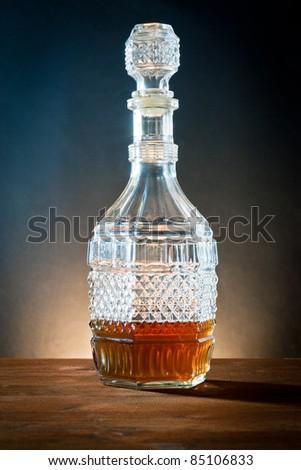 ,liquor in bottle of glass antique,