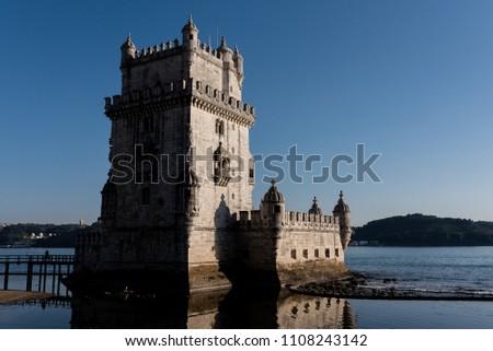 23/02/2018 Lisbon, Portugal: Torre de Belem, Belem Tower on sunset, medieval fortress, Unesco World Heritage Site
