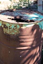 200 liter steel fuel tank.  top was destroyed by rust.