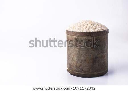1 liter Sticky rice  on white background #1091172332