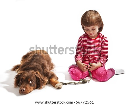 little girl and dog isolated