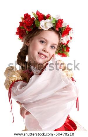Little girl in Ukrainian national costume