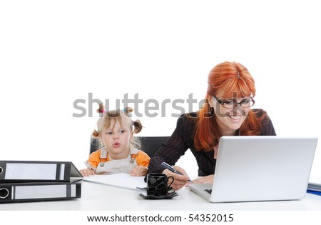 little girl with her mother in the office. Isolated on white background