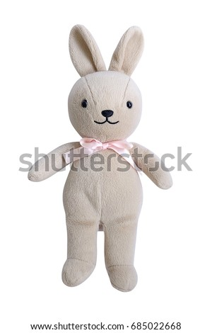 little rabbit toys isolated on white background with clipping path