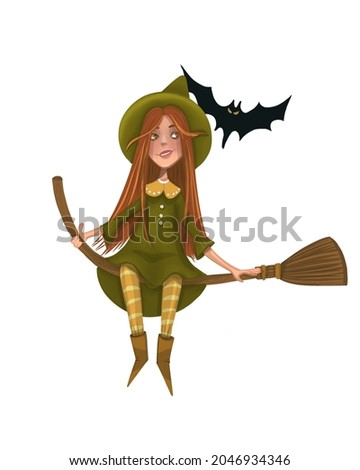 А little witch on a broom with a friend-a bat. Сток-фото ©