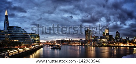 London at night panoramic view from river