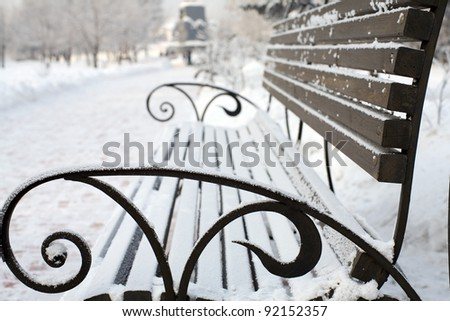 lonely bench covered with snow