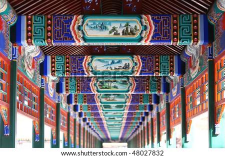 Long corridor in Summer Palace, Beijing #48027832