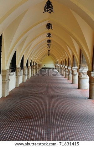 Long Loggia in The Medieval Building on the Island of Rhodes