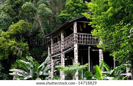 longhouse in sarawak  (Borneo )