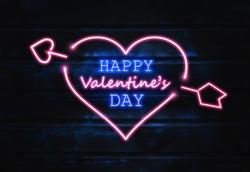Love Day. Happy Valentine's day.  Neon sign, wooden backbround.