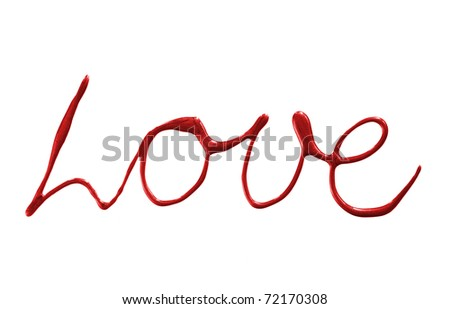 """love"" made of nail polish isolated on white"