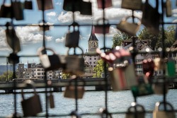 Love padlock on a bridge in the city of Zurich