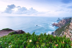 Lovely evening at Cape Roca is the westernmost point of mainland Europe and mainland Portugal