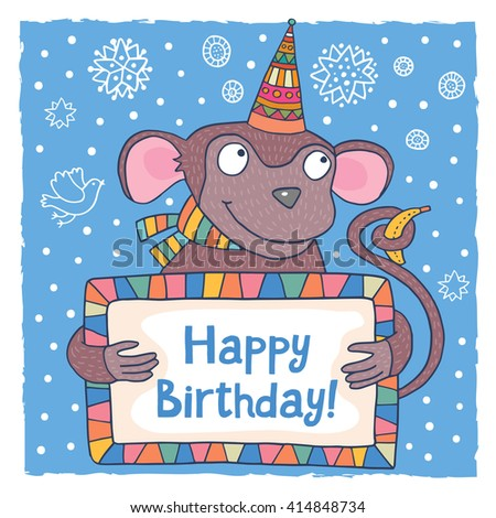cute happy birthday greeting card template with a cartoon dog ez