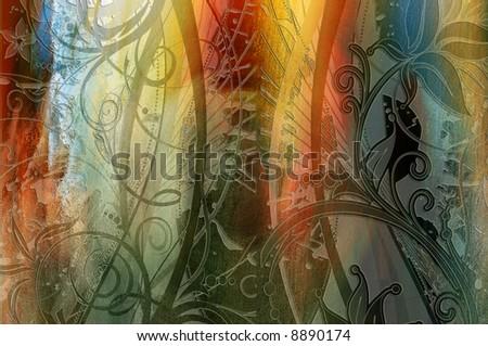lower border,flower wonderland illustrations cards art artistic backgrounds texture decoration garden nature texture design color graphic ,love Foto stock ©