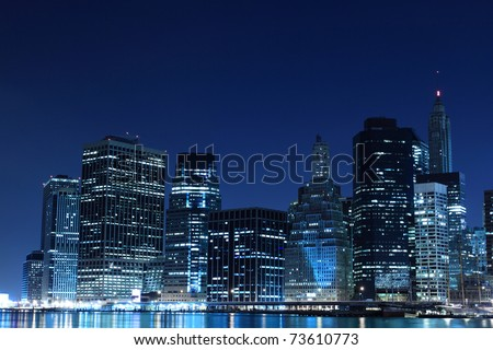 Lower Manhattan Skyline At Night From Brooklyn, New York City