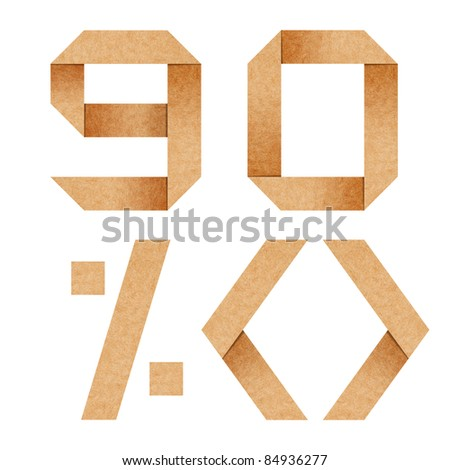9,0,%,<> Origami alphabet letters from recycled paper with clipping path - stock photo