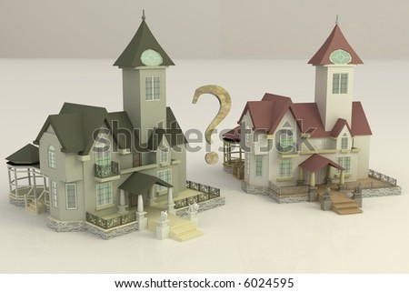 2 Luxury 3d houses for your choice - stock photo
