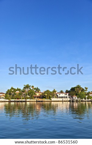 luxury houses at the canal on  in Miami South, USA.