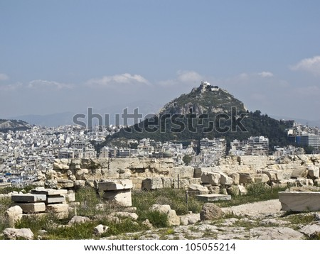 Lycabettus hill in the heart of Athens