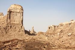 30m high salt blocks spread over a wide area in Dallol salt canyons, the Danakil Depression, Ethiopia