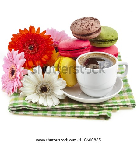 macaroons cookies and coffee cup , flower gerbera , isolation on a white background