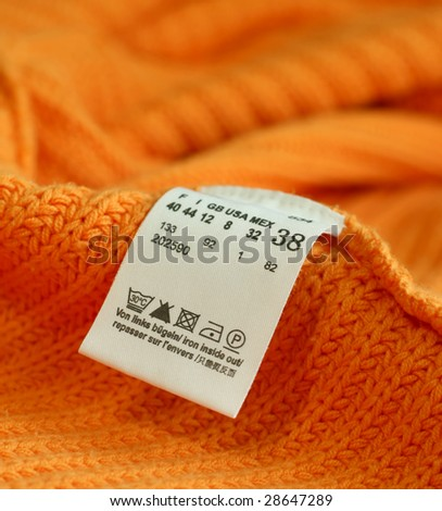 macro of clothing label